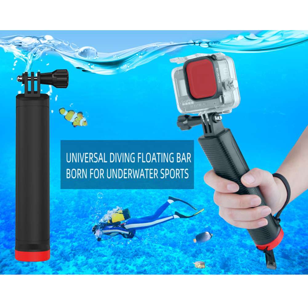 Anti-Slip Camera Buoyancy Rod Floating Hand Grip with Lanyard for DJI OSMO Action/OSMO Pocket/GoPro Camera Sports Pole Handle Diving Stick  black