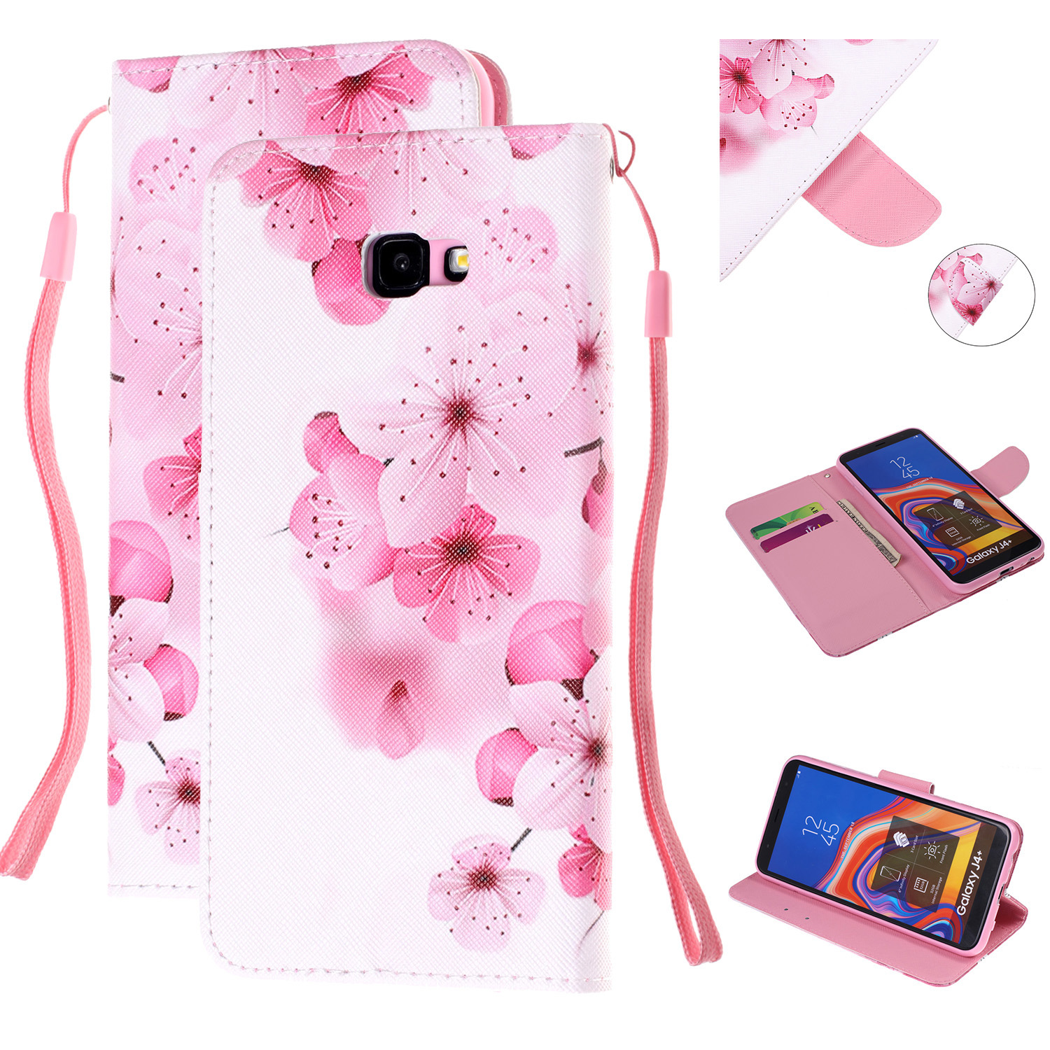 For Samsung J4 Plus/J6 Plus Cartoon Phone Shell Delicate Smartphone Case PU Leather Overall Protective Wallet Design peach blossom