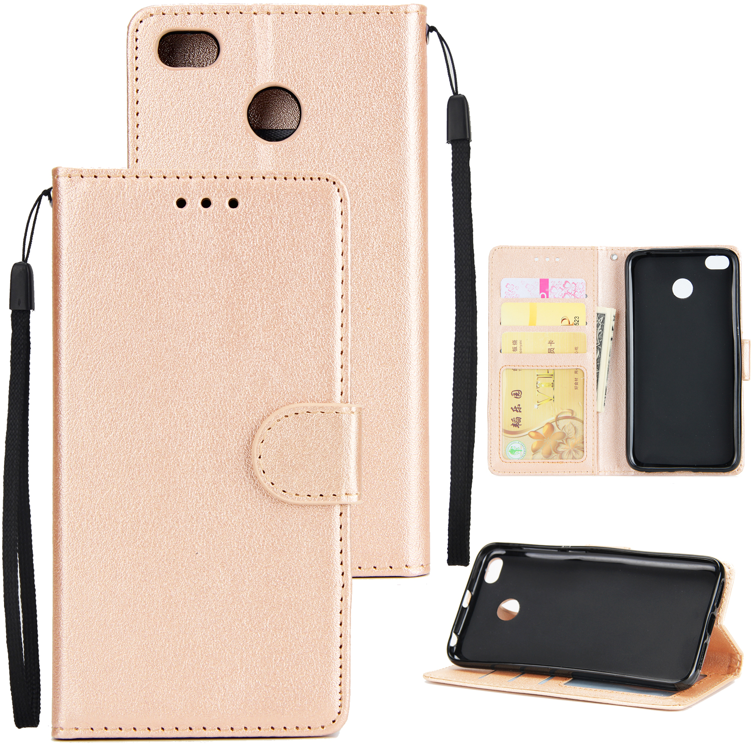 Ultra Slim Shockproof Full Protective Case with Card Wallet Slot for Xiaomi Redmi 4X Golden