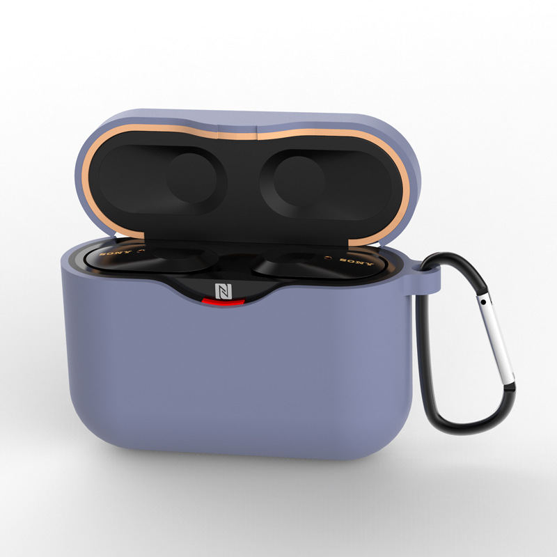Silicone Case for SONY WF-1000XM3 Bluetooth Earphone Charging Box Cover Soft Shell with Anti-lost Hook gray_for SONY WF-1000XM3