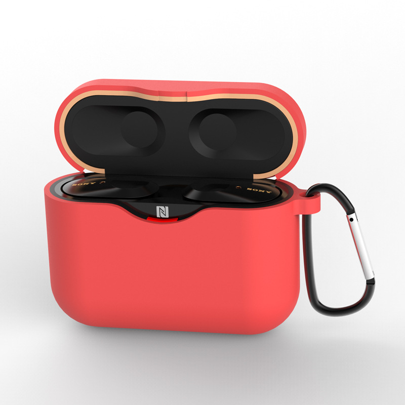 Silicone Case for SONY WF-1000XM3 Bluetooth Earphone Charging Box Cover Soft Shell with Anti-lost Hook red_for SONY WF-1000XM3