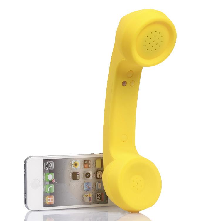 Wireless Retro Telephone Handset Radiation-proof Handset Receivers Headphones for Mobile Phone  yellow
