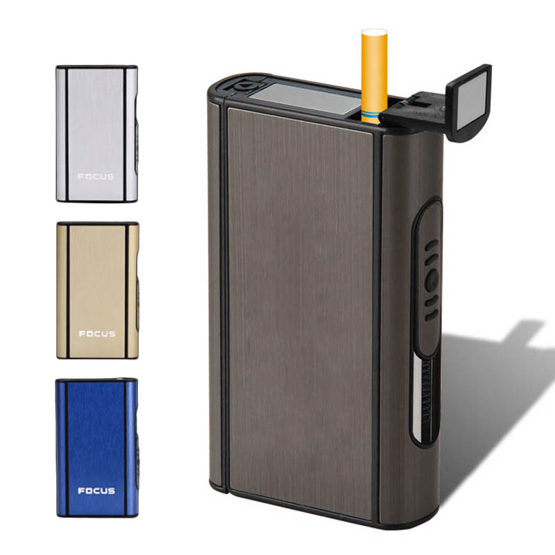 Aluminium Alloy Ejection Holder Portable Automatic Cigarette Case Windproof Metal Smoke Boxes Color mixing_JDYH006