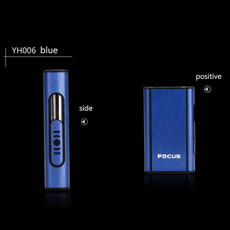 Aluminium Alloy Ejection Holder Portable Automatic Cigarette Case Windproof Metal Smoke Boxes blue_JDYH006
