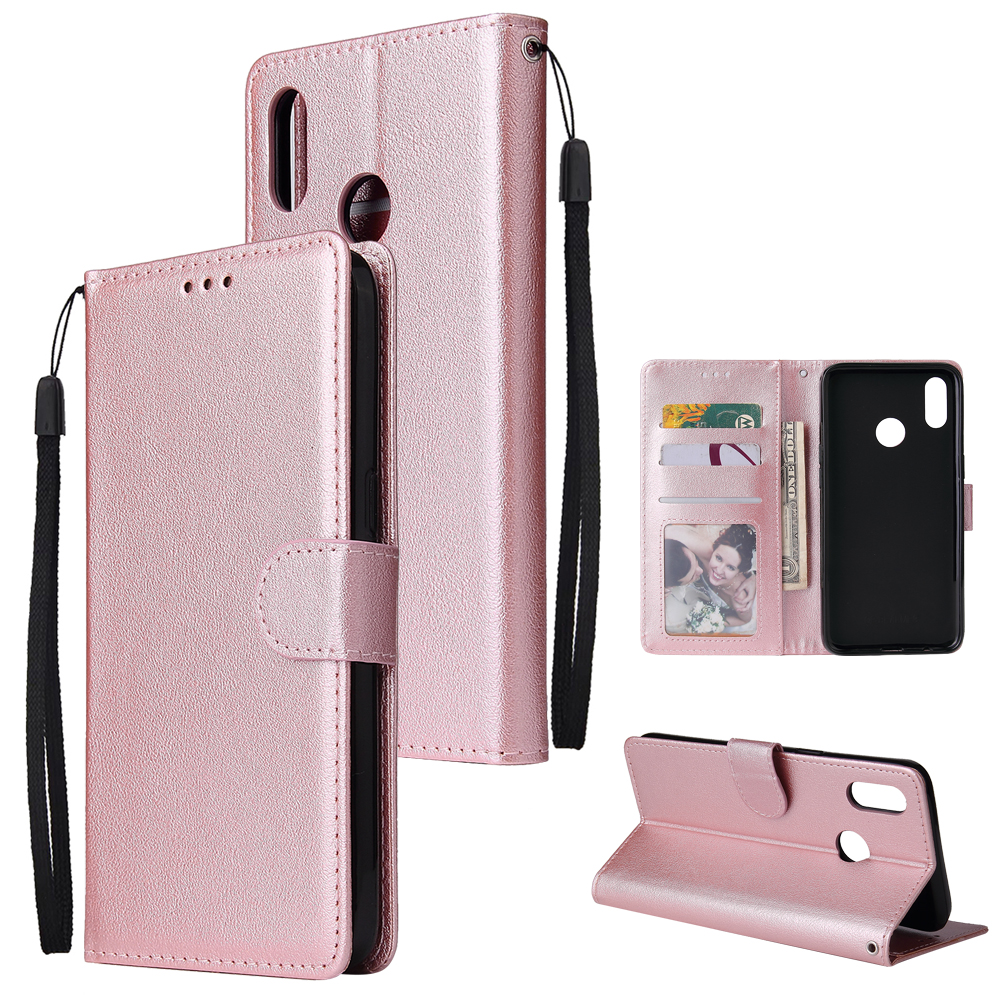For OPPO Realme 3 pro Flip-type Leather Protective Phone Case with 3 Card Position Buckle Design Phone Cover  Rose gold