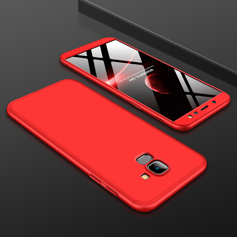 For Samsung A6 2018 360 Degree Protective Case Ultra Thin Hard Back Cover red