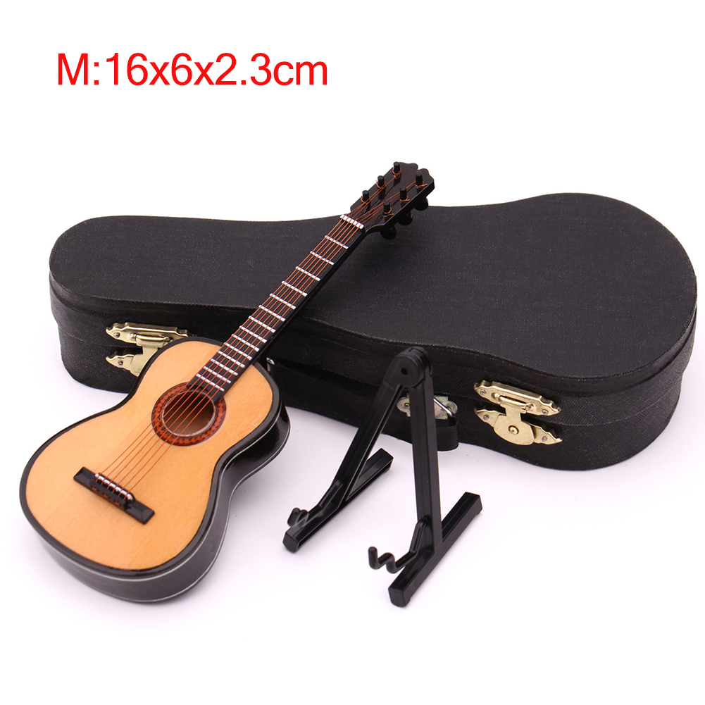 Mini Classical Guitar Miniature Model Wooden Mini Musical Instrument Model with Case Stand M: 16CM_Classical guitar wood color