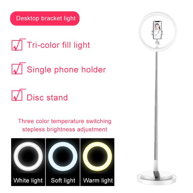 Selfie Ring Light LED Dimmable Video Studio Photography Lighting for Vlog Live Photo with Tripod Y2 fill light white