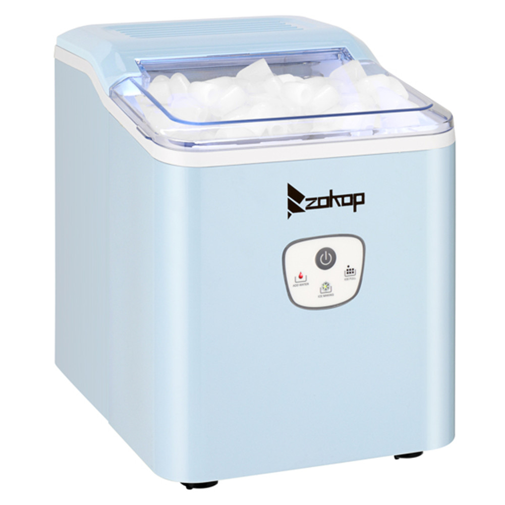 [US Direct] Original ZOKOP Ice  Maker With Plastic Lid Icm-1225 120v 120w 26lbs/12kg/24h Button Type Household Ice Maker Machine blue