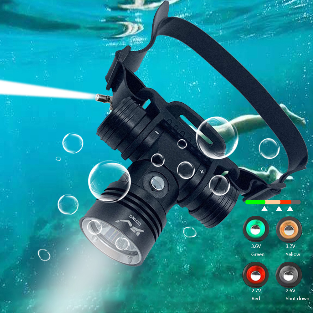 Diving Headlamp 20-40 Meters Waterproof Underwater Headlight L2 Led Head Flashlight L2 single head light-white light (standard belt)