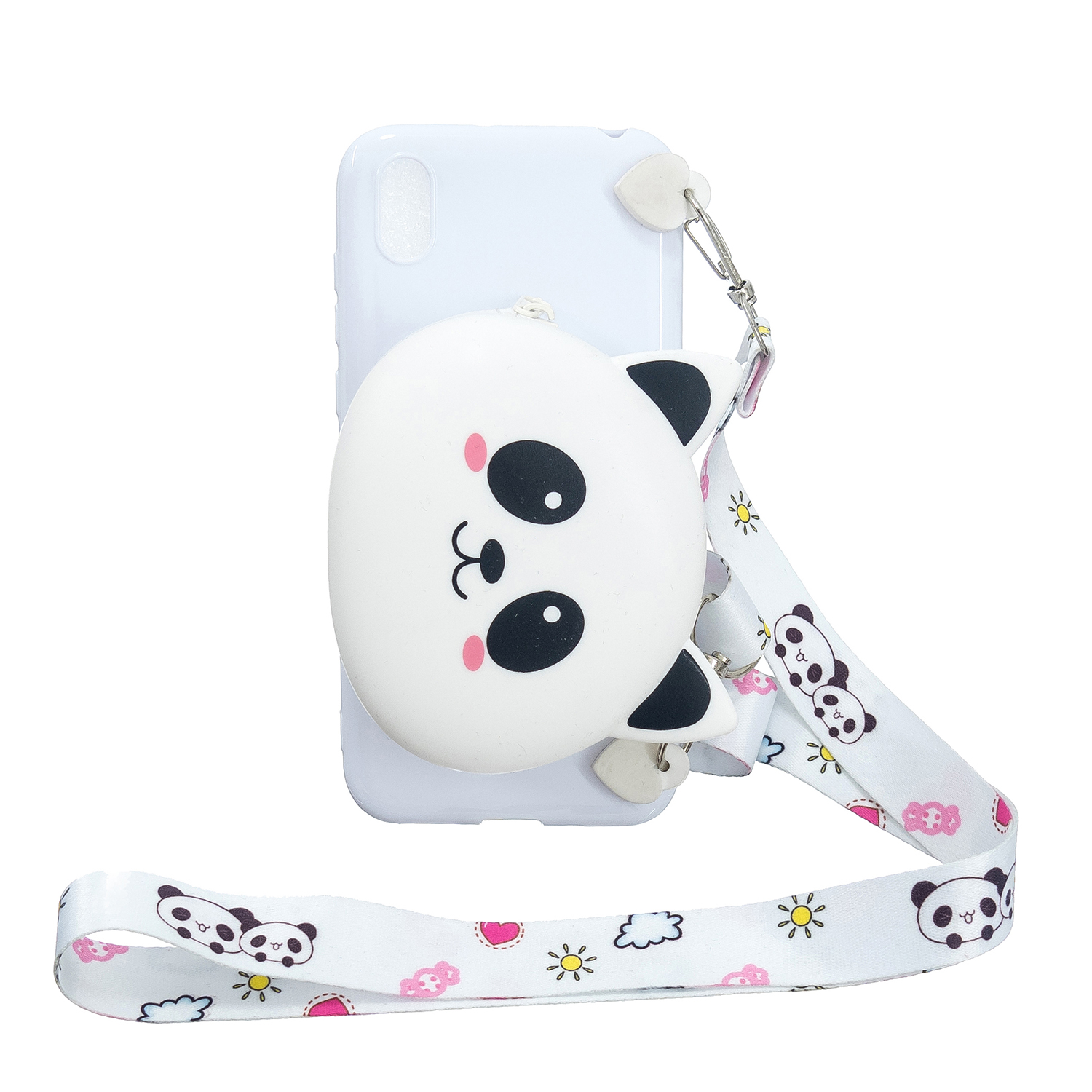 For HUAWEI Y5 2018/Y5 2019 Cellphone Case Mobile Phone Shell Shockproof TPU Cover with Cartoon Cat Pig Panda Coin Purse Lovely Shoulder Starp  White