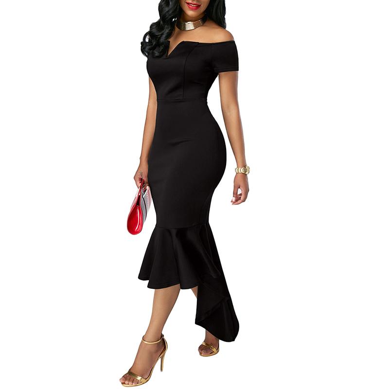 Women Fashionable Slim Design V-Collar Off-shoulder Dress Skirt Elegant Sexy Full Dress