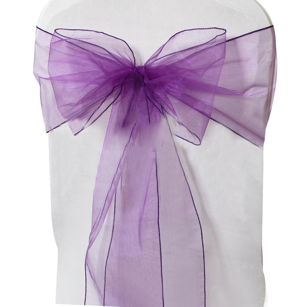 CYNDIE Hot Sale New 8 x108 Organza Chair Cover Sash Sashes Bow Wedding Venue Decoration 30 Colors Purple 50pcs