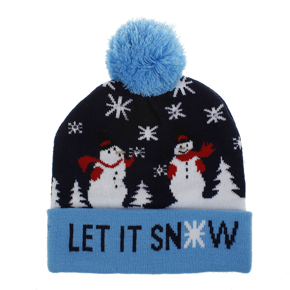 Christmas Style Knitted Hat with Pompon Decor for Kids Adults Gifts Elastic Hats LET snowman_Average size