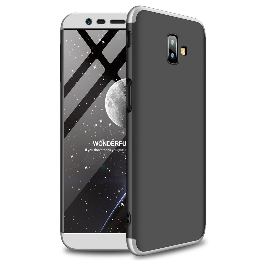 For Samsung J6 Plus/ J6 Prime 3 in 1 360 Degree Non-slip Shockproof Full Protective Case Silver black silver_Samsung J6 Plus/ J6 Prime