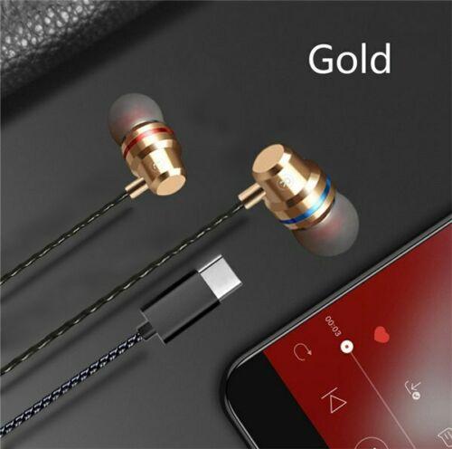 Type C Plug Ear Earphone Headset Headphone Earbuds for Huawei P20 pro HTC Nexus Gold