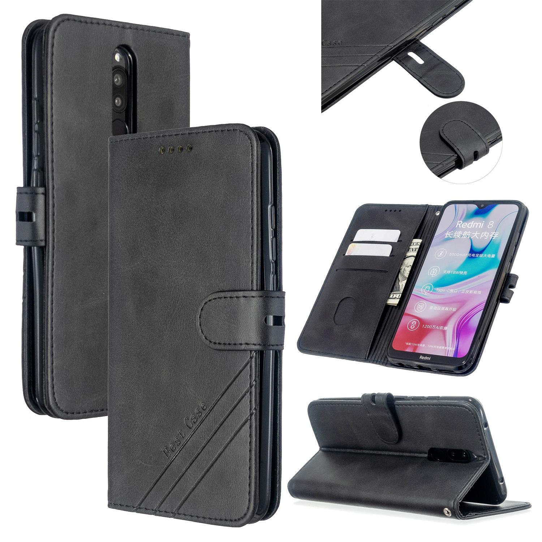 For Redmi Note 8T/Redmi 8/Redmi 8A Case Soft Leather Cover with Denim Texture Precise Cutouts Wallet Design Buckle Closure Smartphone Shell  black