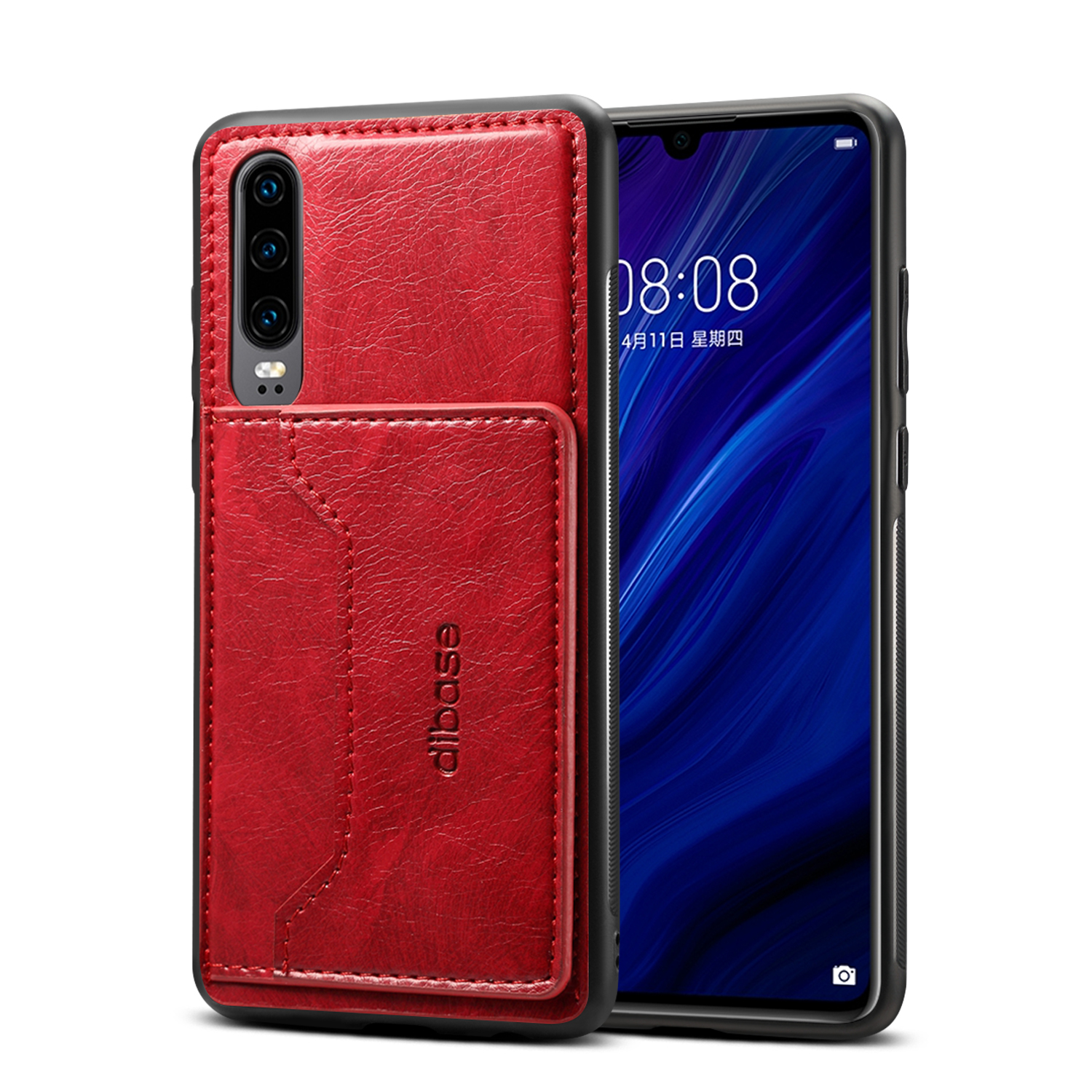 For Samsung A50 Retro PU Leather Wallet Card Holder Stand Non-slip Shockproof Cell Phone Case red