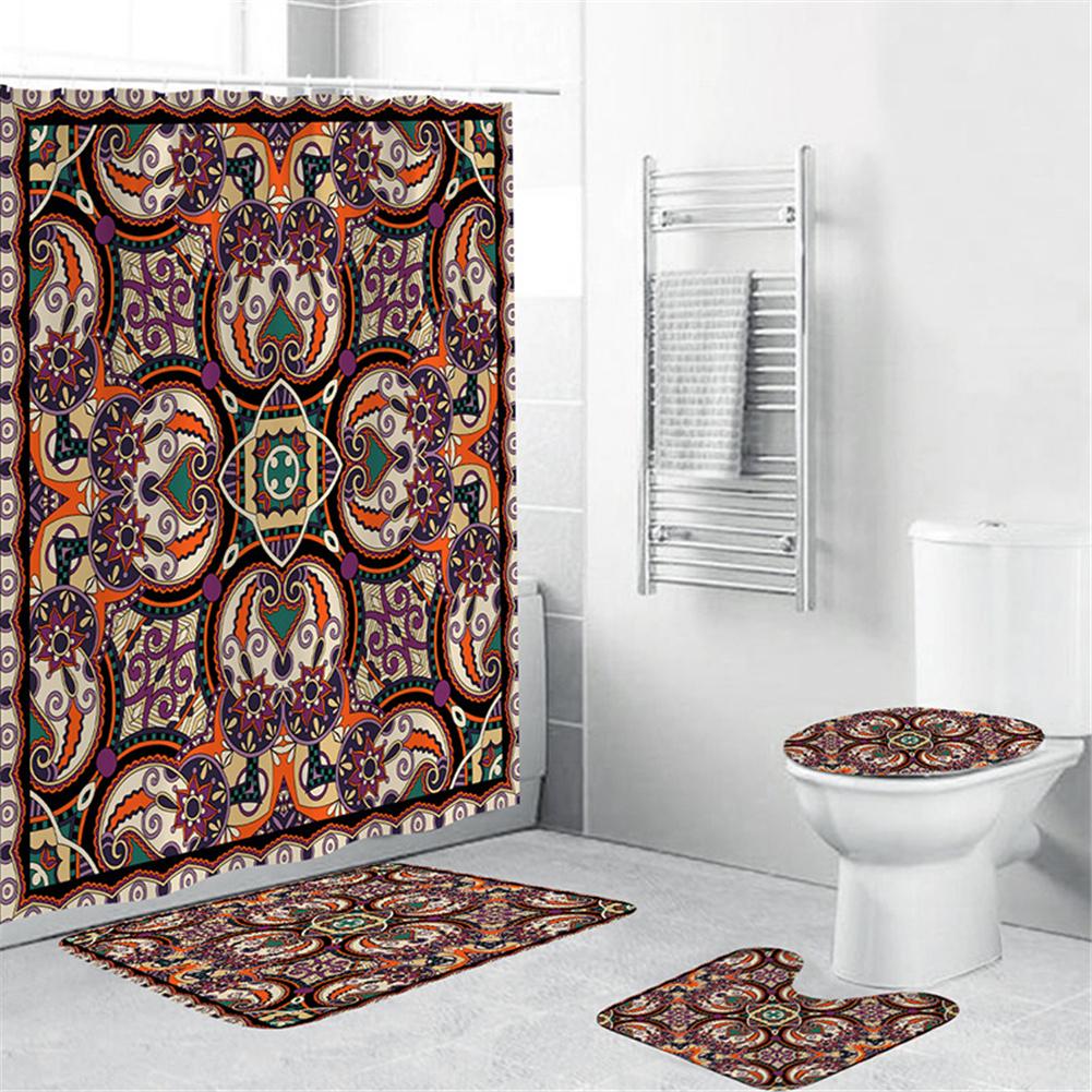 Waterproof Shower  Curtain 180*180cm Non-slip Rug Toilet  Lid  Cover Bath  Mat For Bathroom yul-1690-Bohemia