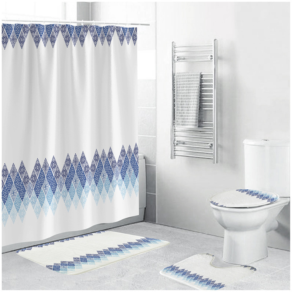 Waterproof Shower  Curtain 180*180cm Non-slip Rug Toilet  Lid  Cover Bath  Mat For Bathroom yul-1715-Lingge upper and lower shower curtain