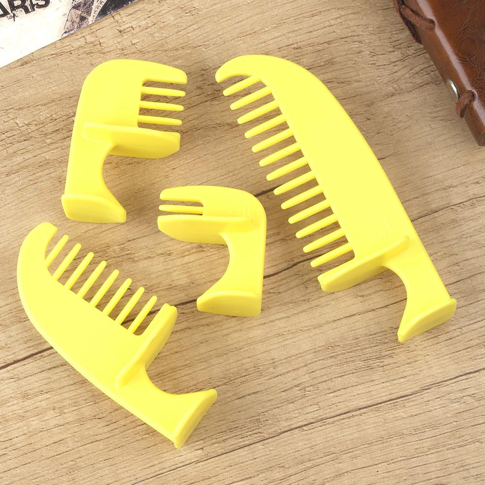 4pcs/set Haircut  Styling  Ruler Combination 4 Sizes Household Haircut Template Ruler Haircut Comb yellow