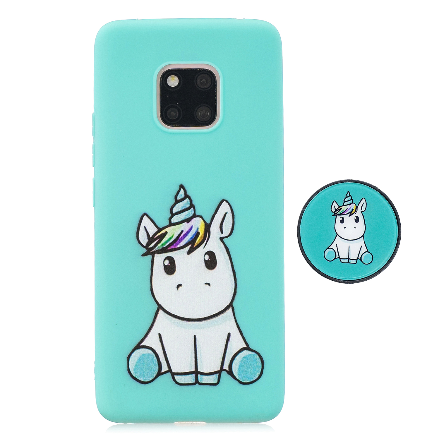 For HUAWEI MATE 20 pro Pure Color Phone Cover Cute Cartoon Phone Case Lightweight Soft TPU Phone Case with Matching Pattern Adjustable Bracket 5