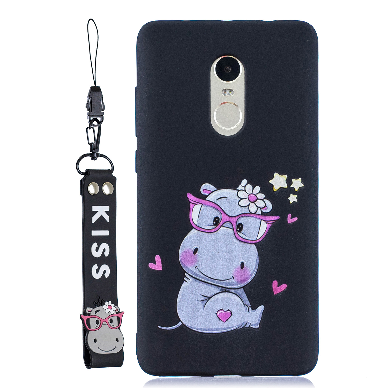 For Redmi note 4X/NOTE 4 Cartoon Lovely Coloured Painted Soft TPU Back Cover Non-slip Shockproof Full Protective Case with Lanyard black