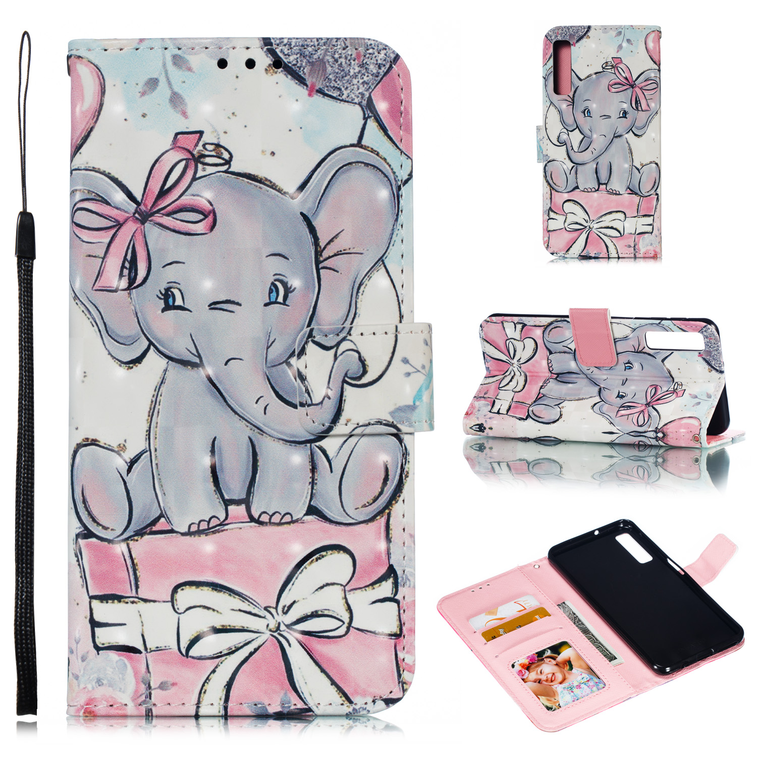 For Samsung A7 2018 3D Coloured Painted Leather Protective Phone Case with Button & Card Position & Lanyard Butterfly elephant