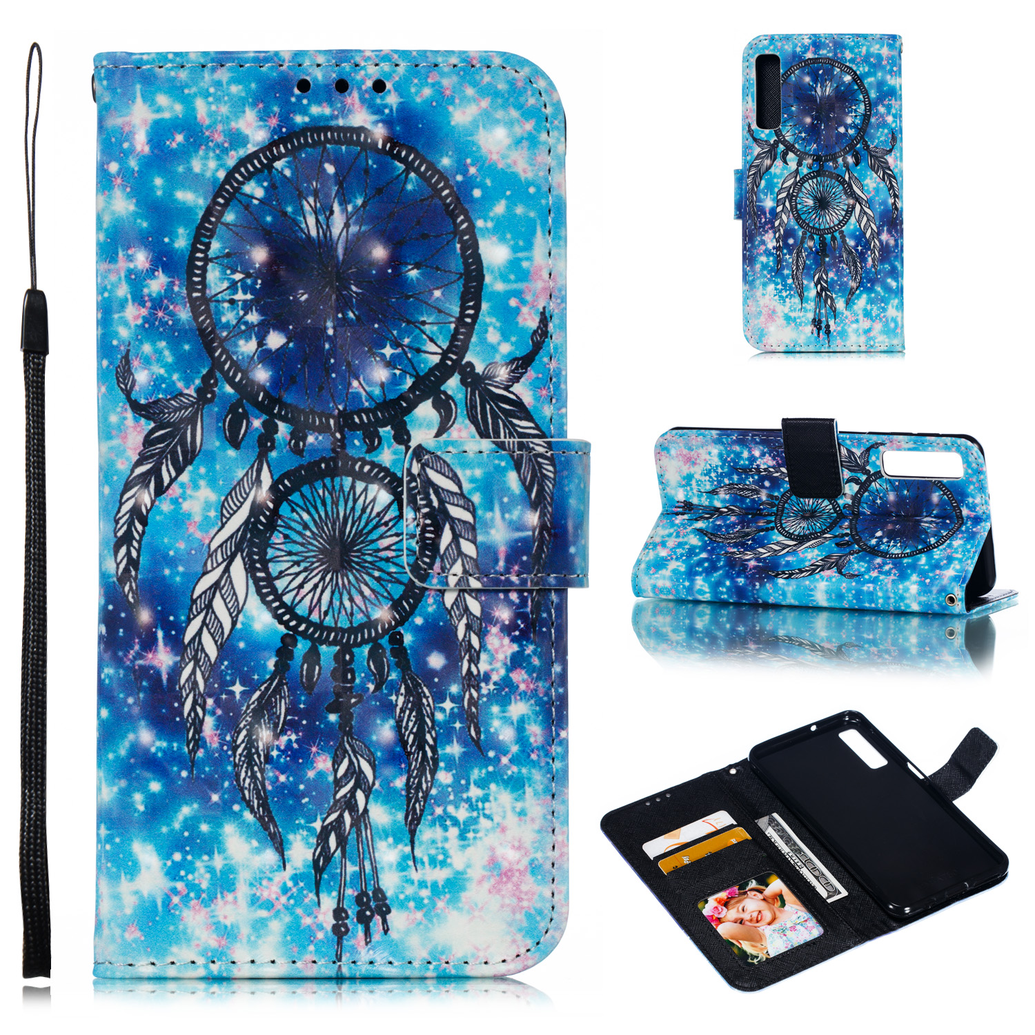 For Samsung A7 2018 3D Coloured Painted Leather Protective Phone Case with Button & Card Position & Lanyard Blue wind chime