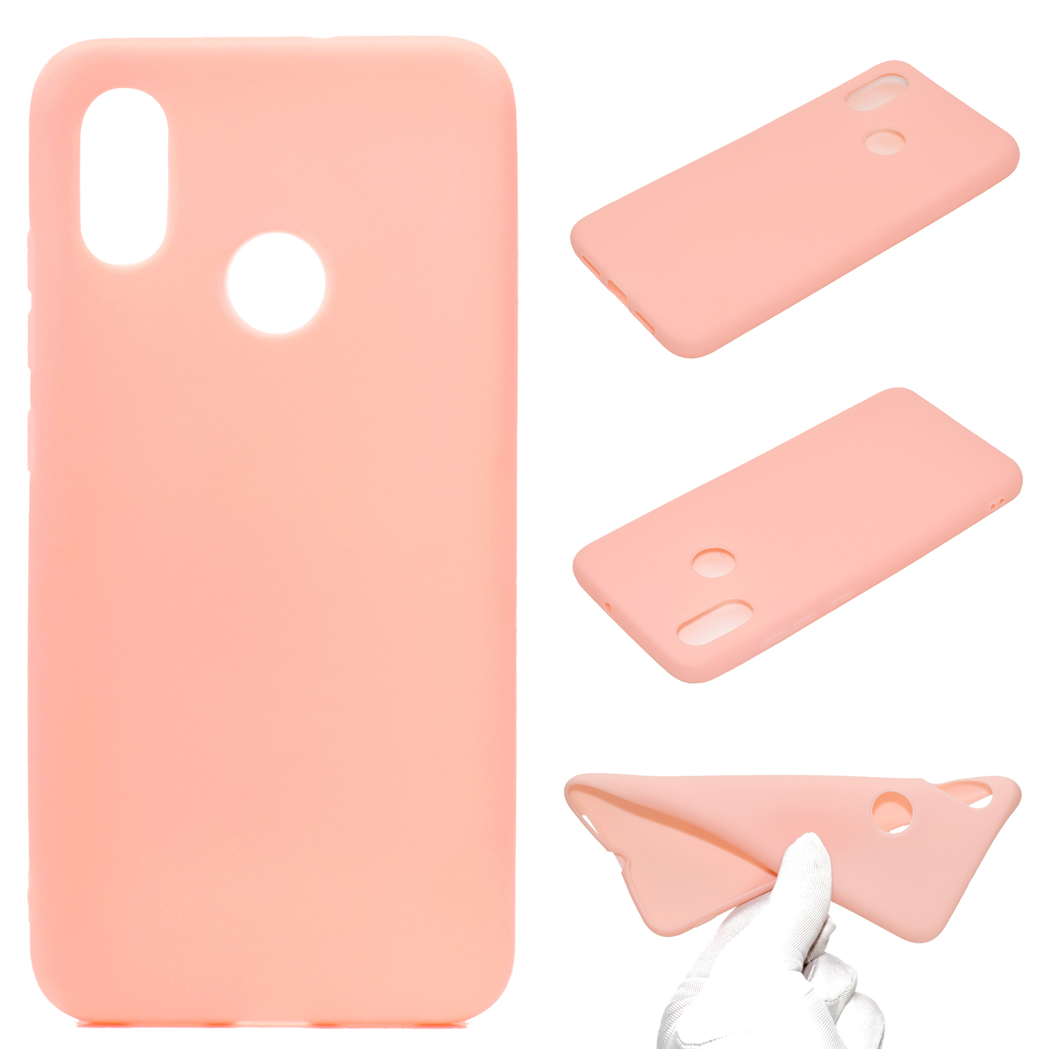 For HUAWEI Y6 2019 Lovely Candy Color Matte TPU Anti-scratch Non-slip Protective Cover Back Case Light pink