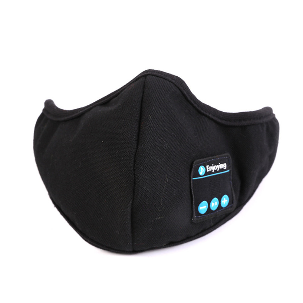 Warm  Bluetooth  Mask Washable  Soft Cotton Face Cover Wireless Bluetooth Headphones Mask black
