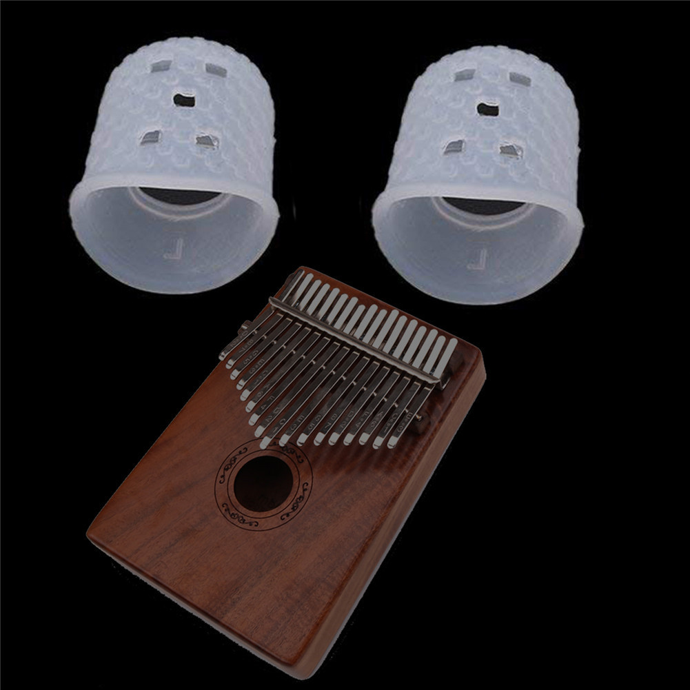 2pcs Finger Cover Relief Play Pain Gloves Silicone Hands Coat for Kalimba Thumb Piano Musical Instrument  Transparent color