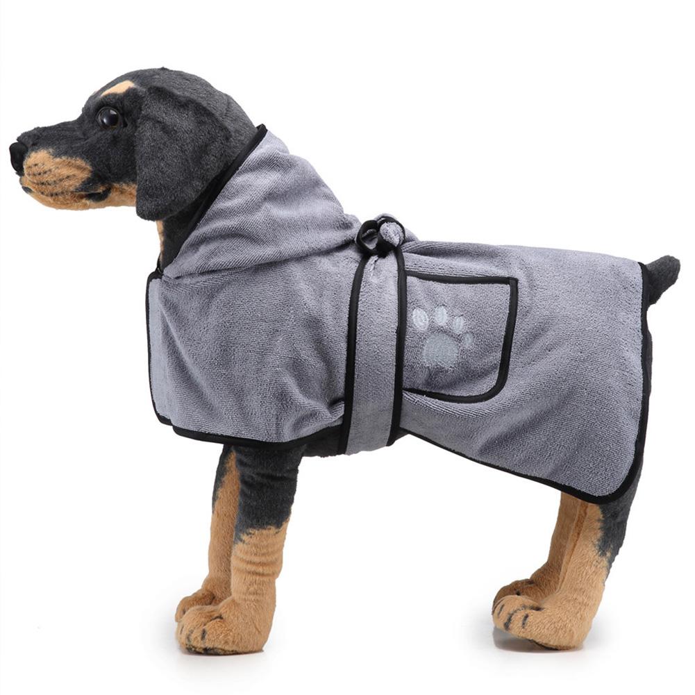 Pet Thick Bath Towel Cat Dog Quick-drying Pet Cloak Bathrobe gray_L