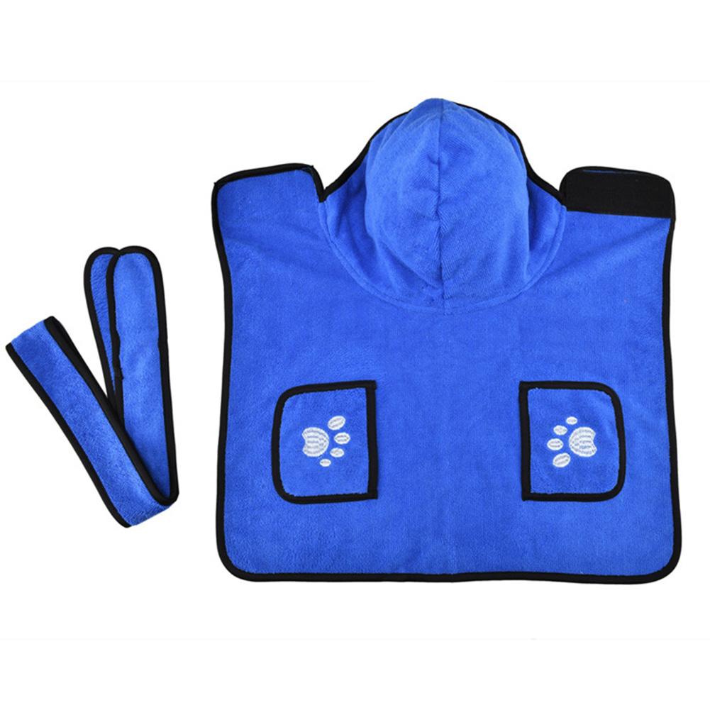 Pet Thick Bath Towel Cat Dog Quick-drying Pet Cloak Bathrobe blue_L