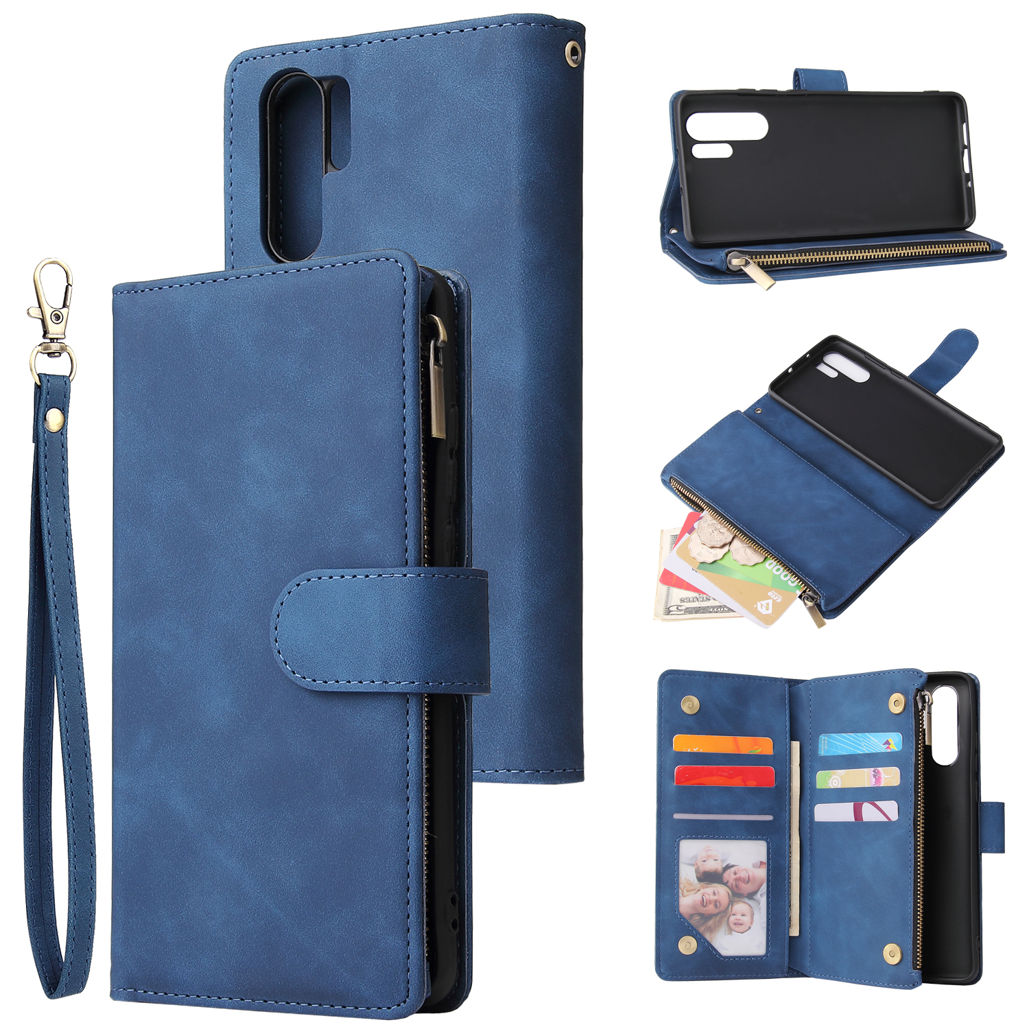 For HUAWEI P30 HUAWEI P30 lite HUAWEI P30 pro Multi-card Bracket Coin Wallet Zipper Mobile Phone PU Leather Phone Case  2 blue