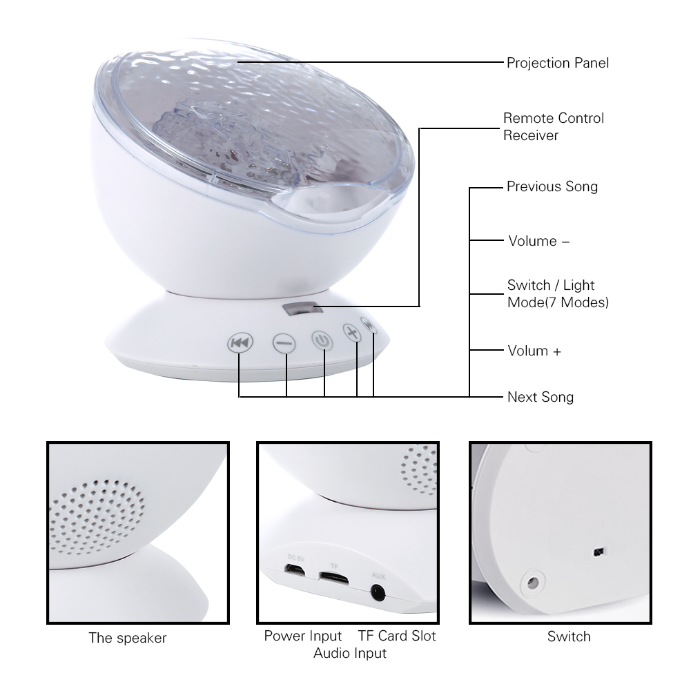 Ocean Wave Music Projector LED Night Light White
