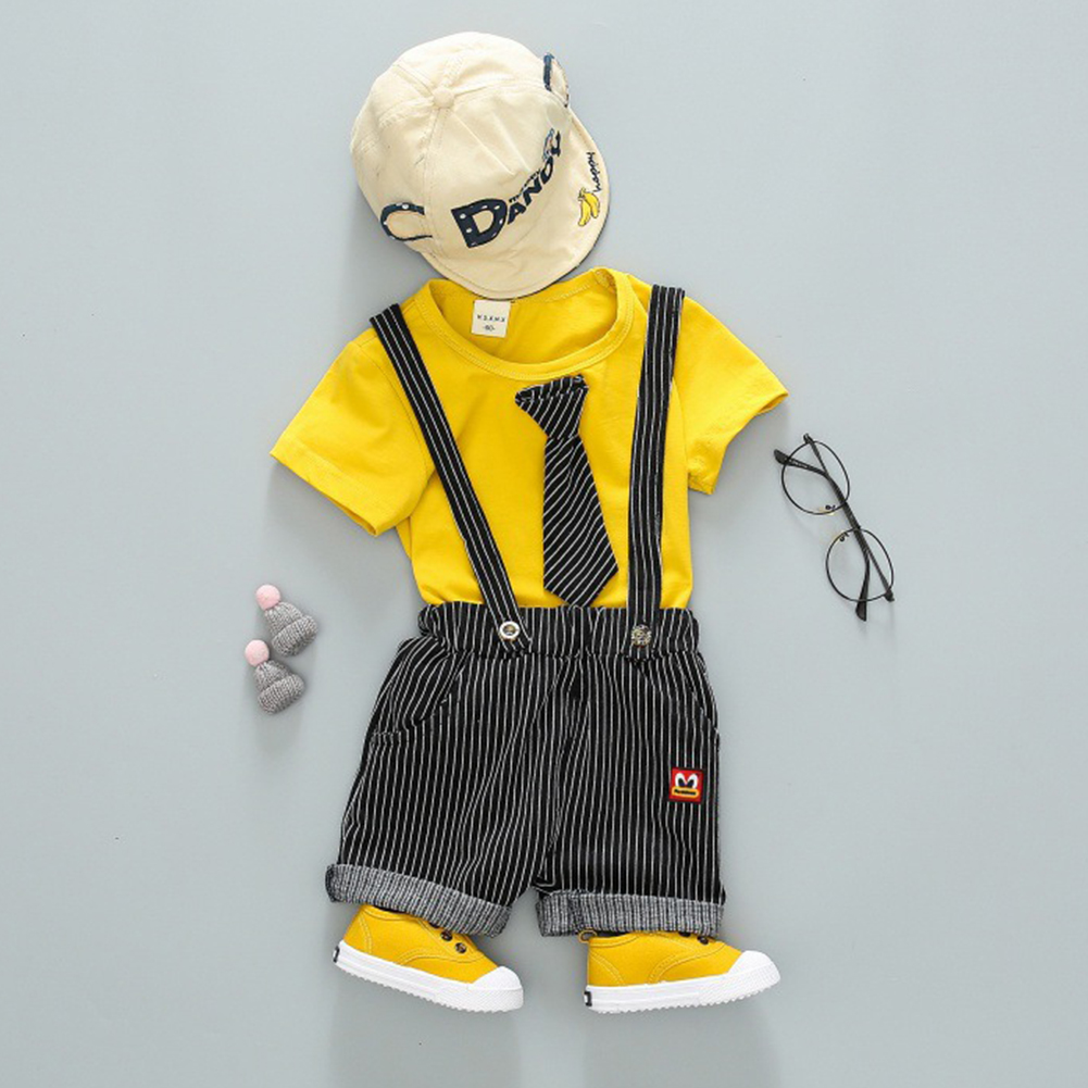 Children Two-piece Suits of Short Sleeves Top+Strips Suspender Shorts Leisure Outfits for Boys Yellow_90cm