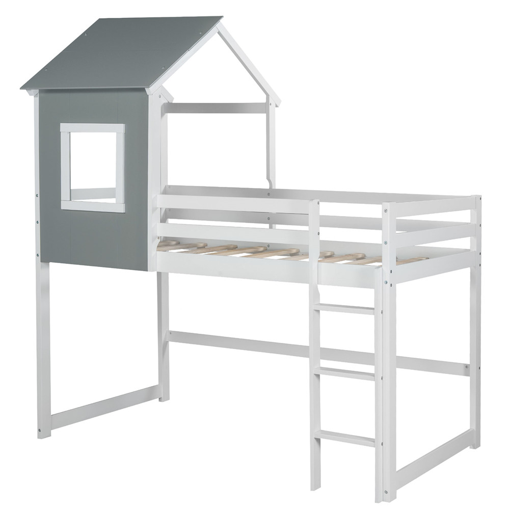 [US Direct] Loft Bed With Top Household Furniture For Living Room Dormitory Grey and white