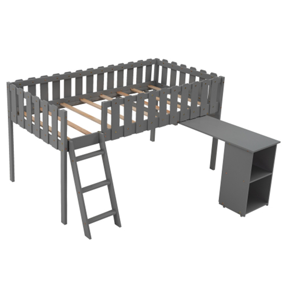 [US Direct] Loft  Bed With Table Cabinet Household Furniture For Living Room Dormitory gray