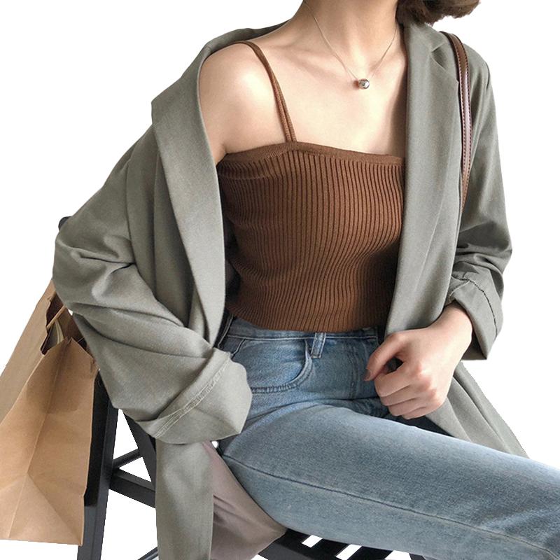 Women's Vest Spring Summer Knitted Camisole Slim Solid Color Bottom Vest Khaki_free size