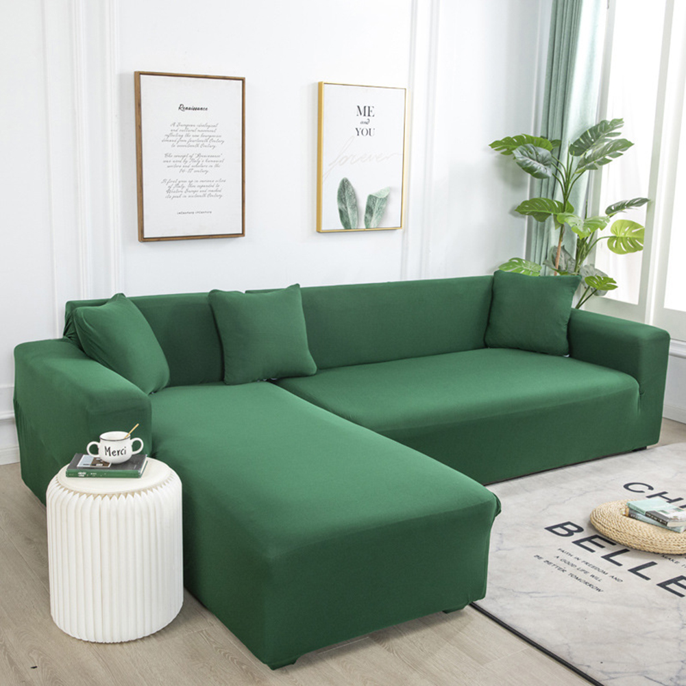 Universal Cloth Sofa Covers for Living Room Elastic Spandex Slipcovers Dark green_Four persons (applicable to 235-300cm)