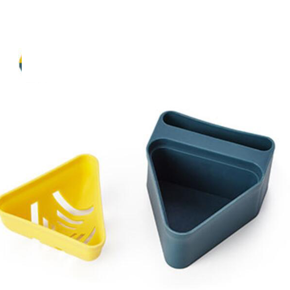 Beauty Sponge Stand Storage Case Makeup Puff Holder Empty Cosmetic triangle Shaped Rack Puffs Drying Box Dark blue + yellow