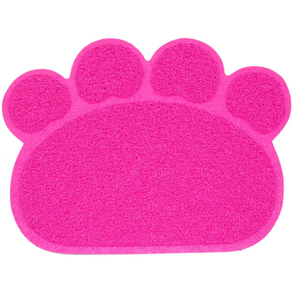 Puppy Kitty Dish Feeding Bowl Placemat Tray Tidy Paw Print Dog Cat Litter Mat Easy Cleaning Sleeping Pad Cama Pink_30x40cm