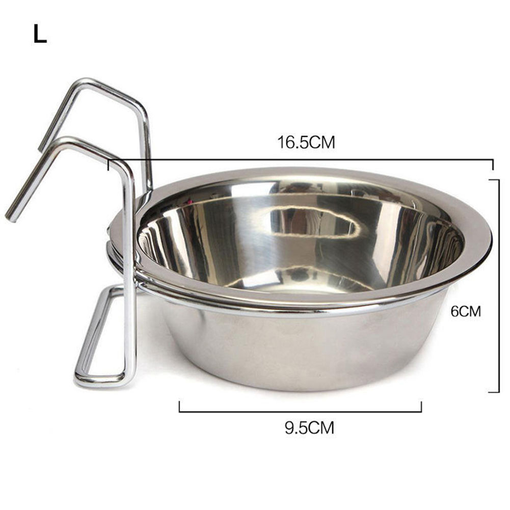 Stainless Steel Hang-on Bowl for Pet Dog Cat Crate Cage Food Water  L 17cm