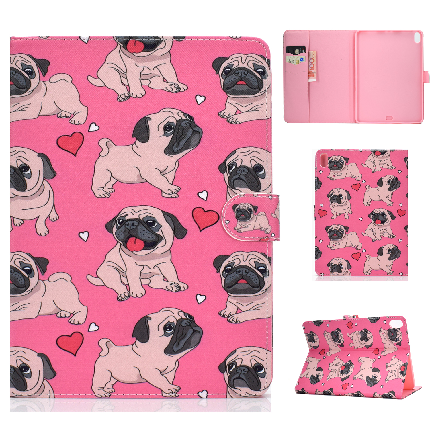 For iPad Pro 11 Laptop Protective Case Smart Stay Color Painted PU Cover with Front Snap Caring dog