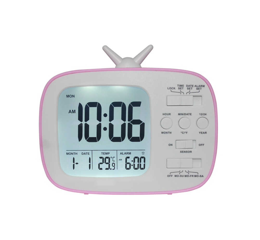Children and Student LCD Electronic Bedside Light-sensitive Smart Alarm Clock G180 red