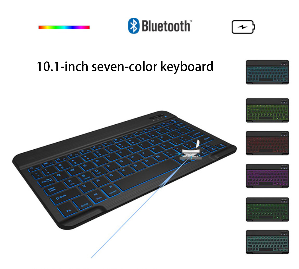 10.1 Inches Bluetooth Keyboard with 7Colors Backlight for iPad Tablet Keyboard black