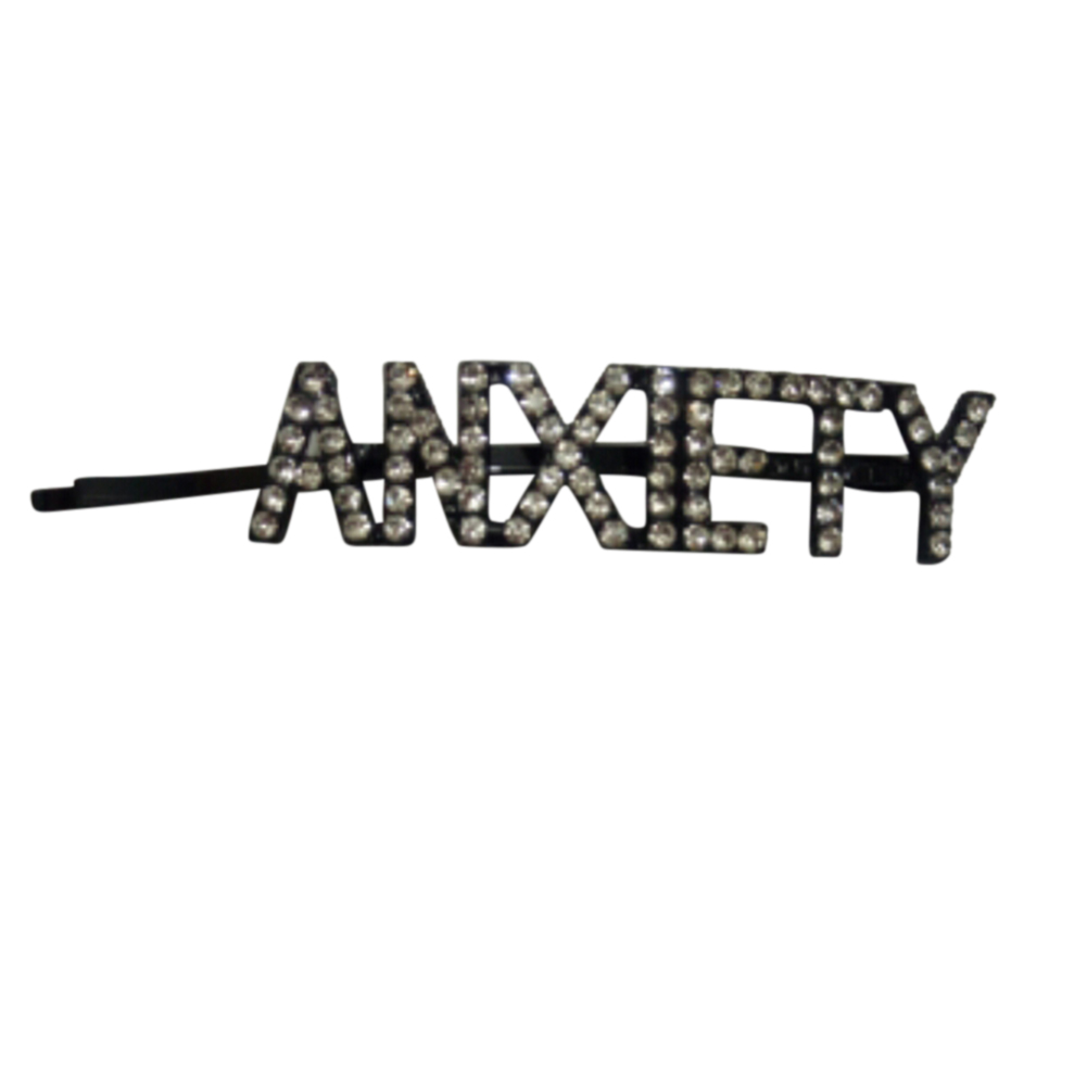 Women Girls Hair Clips Fashion Letter Crystal Hair Accessories Gun black ANXIETY