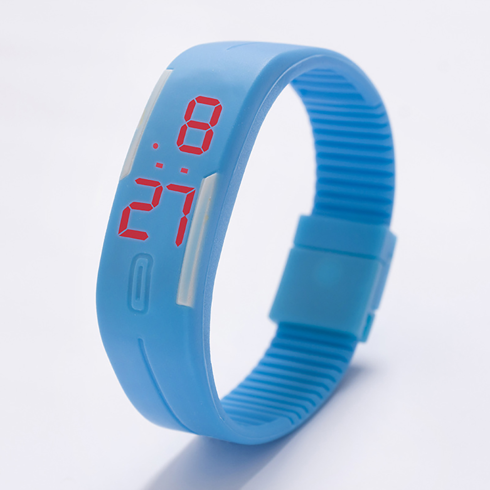 Fashion Top Brand Luxury Unisex Men's Watch Silicone Red LED Sport Watch Touch  Lake blue