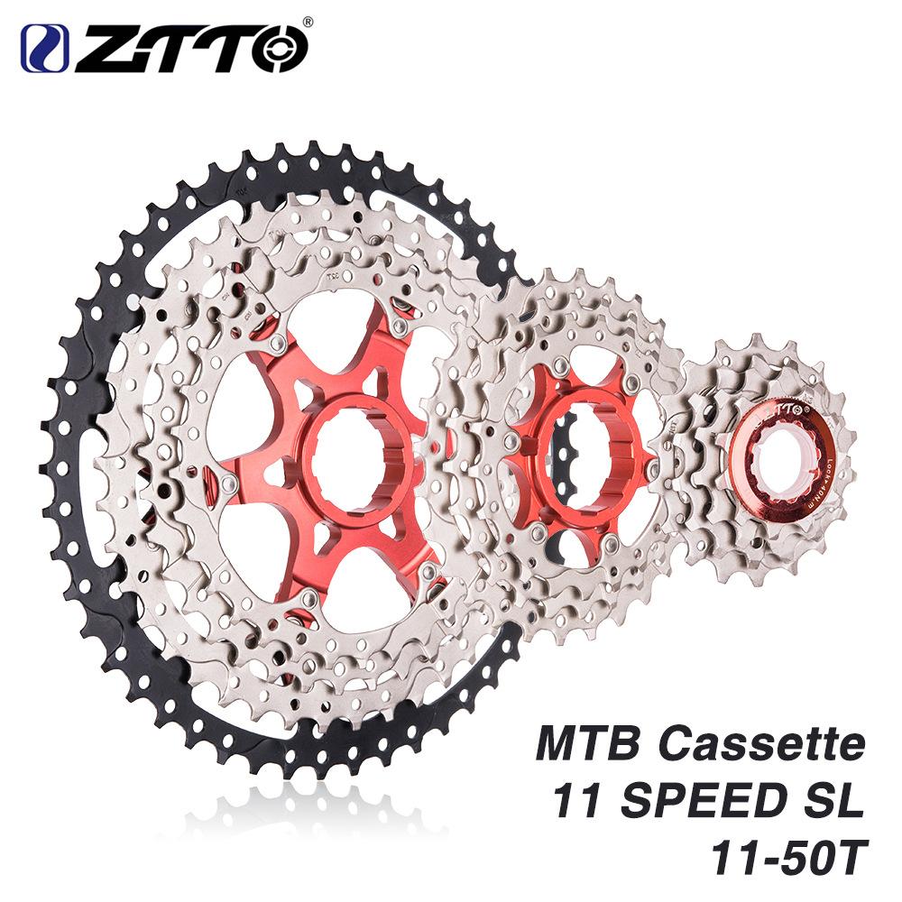 ZTTO MTB 11 Speed Cassette 11 s 11-50 t  UltraLight Freewheel Mountainbike Cassette Flywheel 11-speed 50T black silver SL (red double aluminum frame)